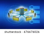 3d illustration of data sharing ... | Shutterstock . vector #676676026