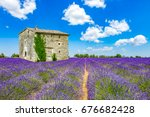 landscape in provence | Shutterstock . vector #676682428