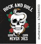 rock and roll graphic design... | Shutterstock .eps vector #676684033