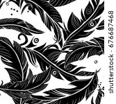 black feathers seamless pattern.... | Shutterstock .eps vector #676687468