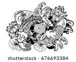 beautiful line art koi carp... | Shutterstock .eps vector #676693384