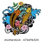 beautiful line art koi carp... | Shutterstock .eps vector #676696324