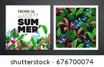 tropical palm leaves background.... | Shutterstock .eps vector #676700074