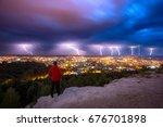 thunderstorm and lightnings in... | Shutterstock . vector #676701898