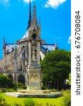 notre dame de paris cathedral ... | Shutterstock . vector #676708084