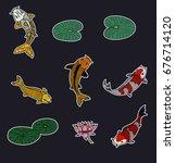 koi fish and lotus vector set... | Shutterstock .eps vector #676714120