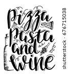 pizza  pasta and wine. vector...   Shutterstock .eps vector #676715038