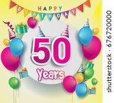 50th years anniversary...   Shutterstock .eps vector #676720000