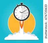 clock rocket launch up time to... | Shutterstock .eps vector #676720633