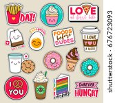 set of fashion girls patches ... | Shutterstock .eps vector #676723093