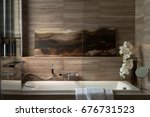 white bathtub and shower with... | Shutterstock . vector #676731523