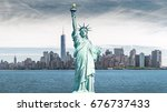 the statue of liberty ... | Shutterstock . vector #676737433