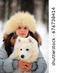Woman Owner With White Samoyed...