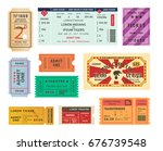 set of isolated retro tickets... | Shutterstock .eps vector #676739548