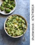 broccoli mashed potatoes in a... | Shutterstock . vector #676740814
