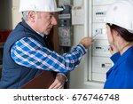 young female apprentice... | Shutterstock . vector #676746748