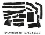 duct repair tape black set ...   Shutterstock . vector #676751113