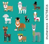 vector illustration of a dog.... | Shutterstock .eps vector #676758316
