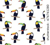 seamless tropical pattern with... | Shutterstock .eps vector #676761280