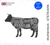 british  uk  cuts of beef... | Shutterstock .eps vector #676761646