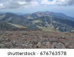 mountain walk to vihren peak.... | Shutterstock . vector #676763578