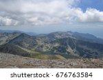 mountain walk to vihren peak.... | Shutterstock . vector #676763584