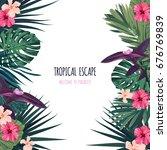 floral square postcard design... | Shutterstock .eps vector #676769839