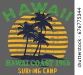 surfing artwork. hawaii beach ... | Shutterstock .eps vector #676775344
