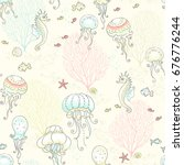 seamless pattern with jellyfish ... | Shutterstock .eps vector #676776244