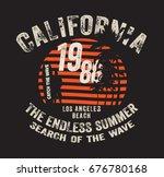 surfing artwork. los angeles... | Shutterstock .eps vector #676780168