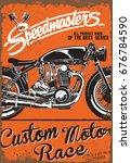 vintage motorcycle poster.... | Shutterstock .eps vector #676784590