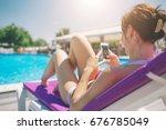 young beautiful smiling woman... | Shutterstock . vector #676785049