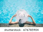 young woman happy in big hat... | Shutterstock . vector #676785904