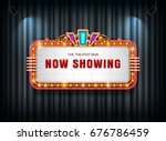 theater sign retro on curtain... | Shutterstock .eps vector #676786459