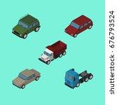 isometric automobile set of car ...