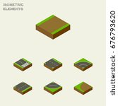 isometric road set of downward  ... | Shutterstock .eps vector #676793620