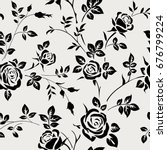 Stock vector seamless pattern with black rose silhouette on white background floral wallpaper 676799224