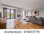spacious living room with floor ... | Shutterstock . vector #676815778