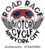 motorcycle helmet graphic tee... | Shutterstock .eps vector #676824883