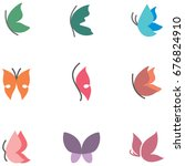 butterfly colored icons | Shutterstock .eps vector #676824910
