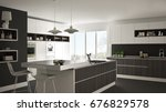 modern white kitchen with... | Shutterstock . vector #676829578
