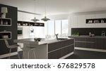 modern white kitchen with... | Shutterstock . vector #676829578