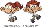 cartoon jumping kids in uniform....   Shutterstock .eps vector #676832149