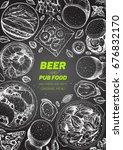 pub food frame vector... | Shutterstock .eps vector #676832170