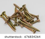Small photo of Close up group of screws in the warehouse. Metal repair screw