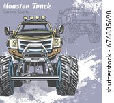 monster truck on the sport... | Shutterstock .eps vector #676835698