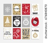 christmas hand drawn card set.... | Shutterstock .eps vector #676840870