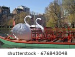 Small photo of BOSTON - APRIL 16, 2017: A Swan Boat awaits passengers in Boston Common on April 16, 2017. The Swan Boats operate in the same pond in the Public Garden in which they have operated since 1877.