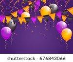 halloween violet background...   Shutterstock .eps vector #676843066