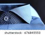 blue shirt with collar | Shutterstock . vector #676845553
